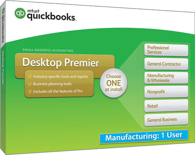 2018 Intuit QuickBooks Desktop PREMIER Manufacturing Version 1 User