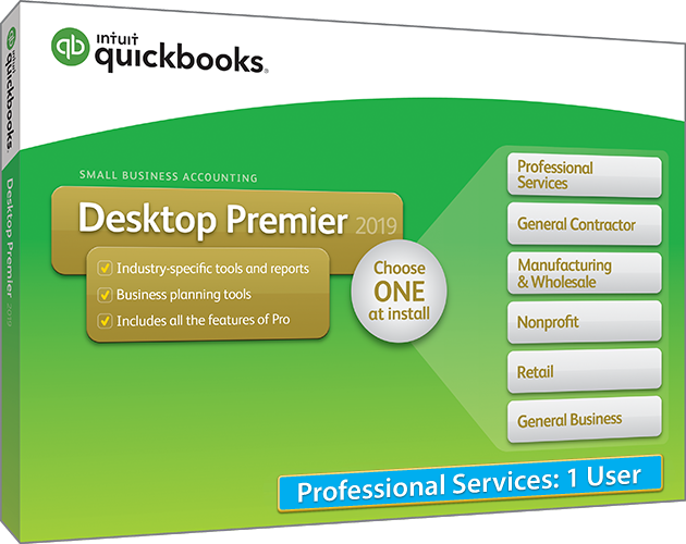 2019 Intuit QuickBooks Desktop PREMIER Professional Services Version 1 User