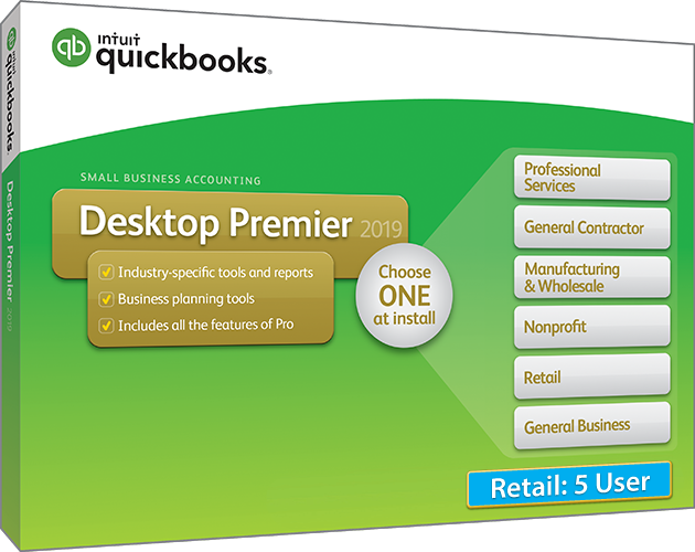 Upgrade & Download 2019 Intuit QuickBooks Desktop PREMIER Retail Version 5 User