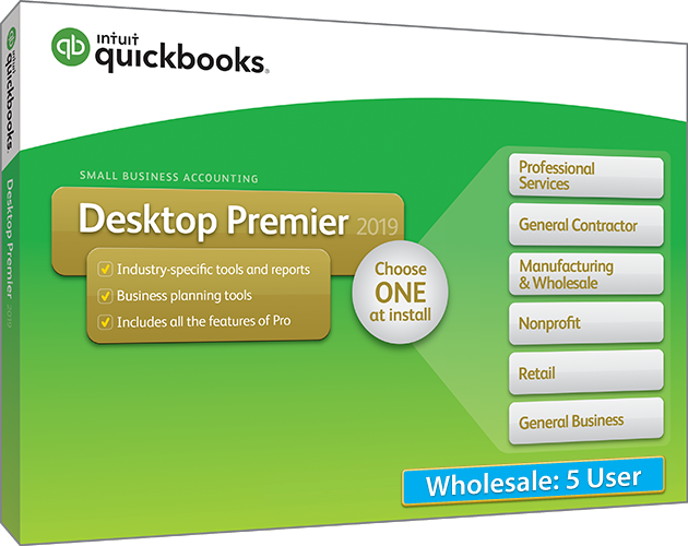 2019 Intuit QuickBooks Desktop PREMIER Wholesale Version 5 User