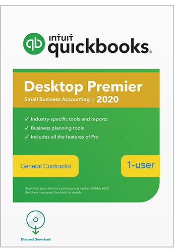 Upgrade & Download 2020 Intuit QuickBooks Desktop PREMIER General Contractor Version 1 User
